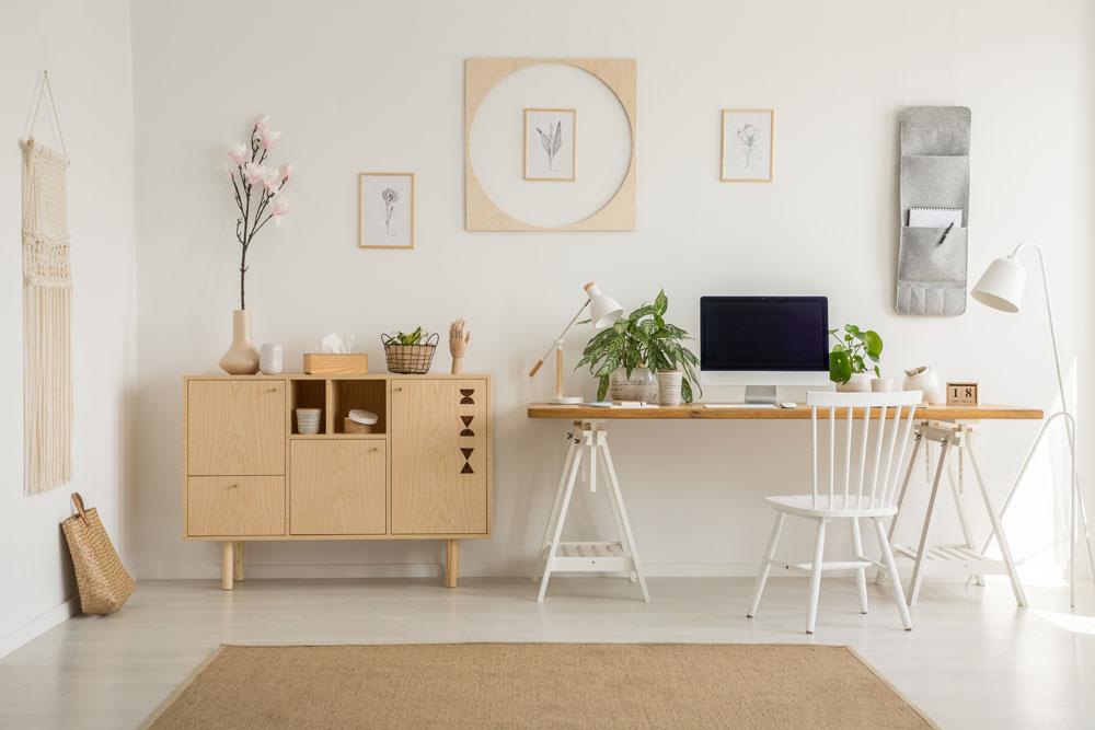 Arbeitsplatz, Home-Office im japandi style