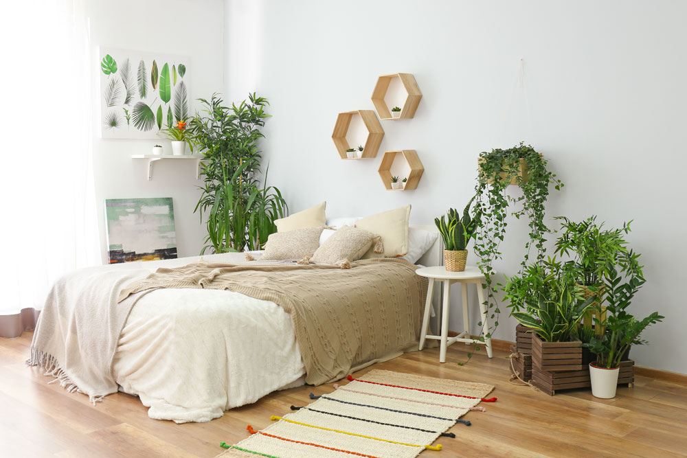 japandi Schlafzimmer mit Pflanzen